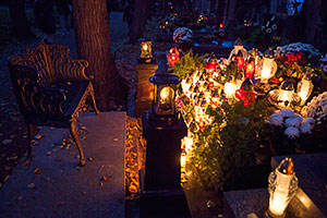 Candles Lit at a Prague Cemetery on All Souls' Day