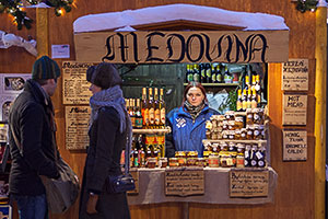 A Booth Selling Czech Honey Liquor