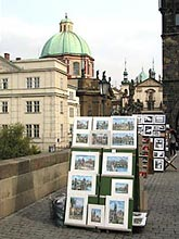 Charles Bridge is popular with local artists
