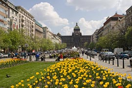 A View Up Wenceslas Square with National Museum at the Top