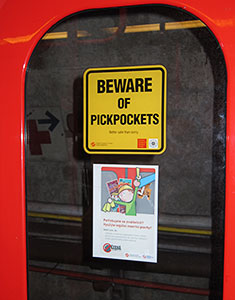 A sign on the Prague subway in 2012
